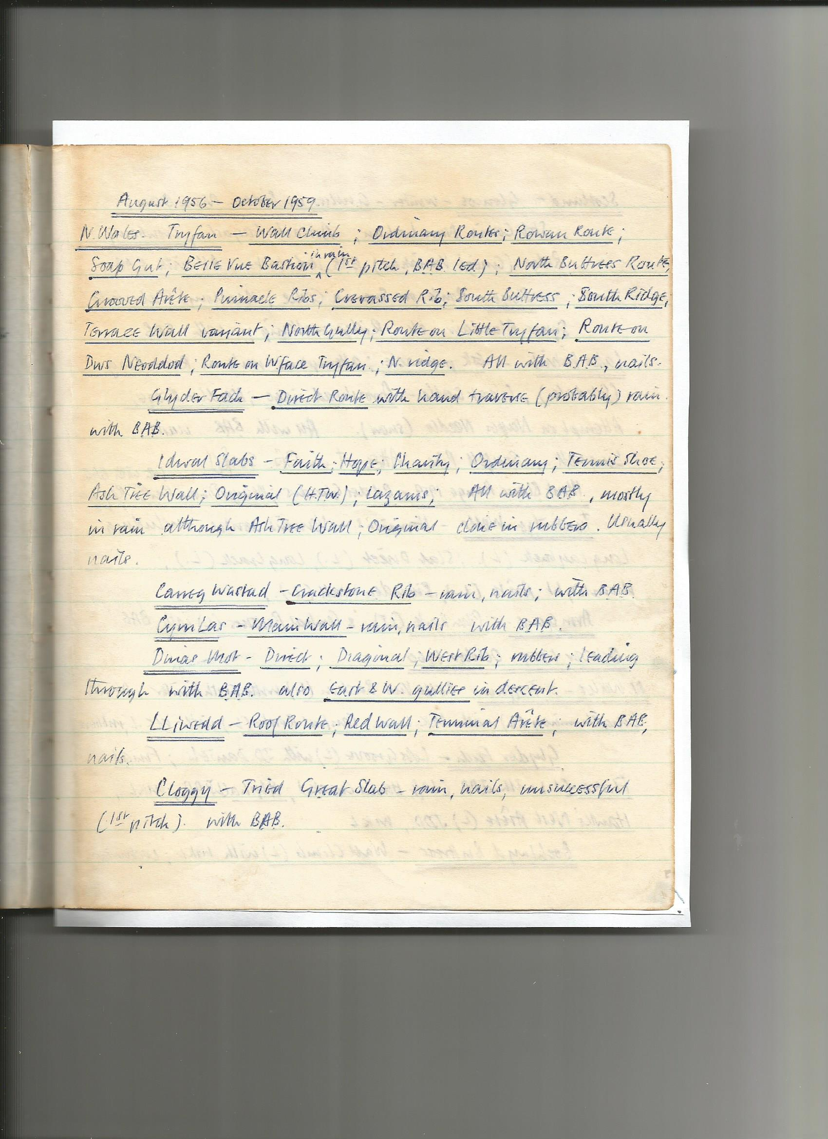 Barry Brewster Climbing Log August 1956 - October 1959