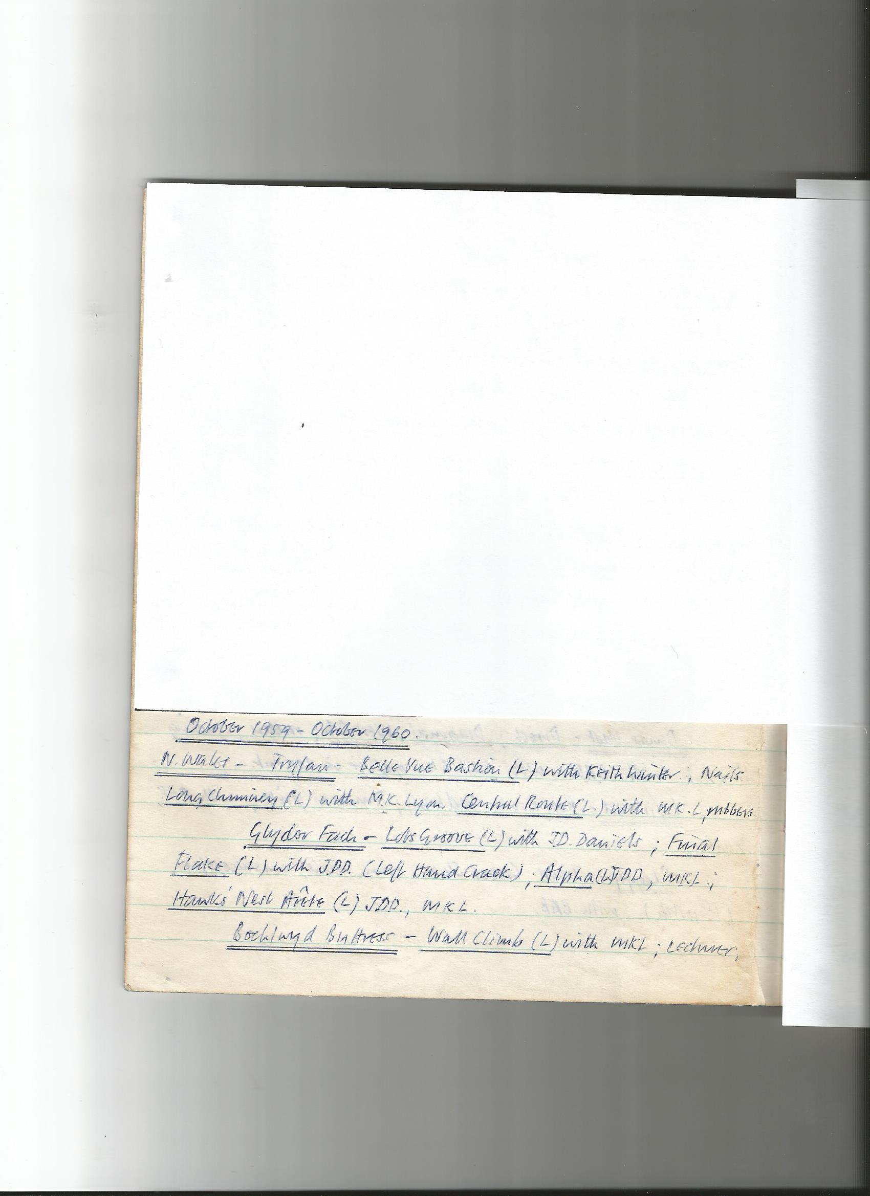Barry Brewster Climbing Log October 1959 - October 1960